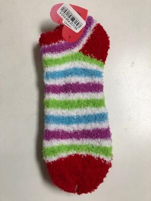 Women's Fuzzy No-Show Striped Socks - Red/Blue/Green/White/Purple - Size 9-11