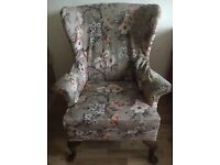 X2 floral covered vintage high back wing armchairs sage green
