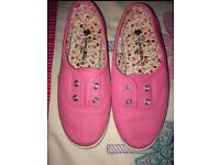 Girls Glittery Pink Trainers 13, New