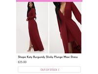 Buying a house! Burgundy maxi length plunge dress size 12 - never worn! £20 ONO. Collection only