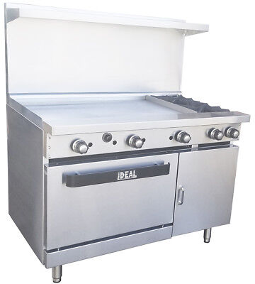 New. Commercial 48 Range With 2 Burners 36 Griddle. Made In Usa By Ideal
