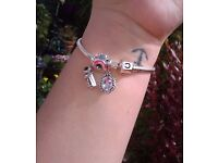 Real chamelia bracelet and Alice in wonderland charms