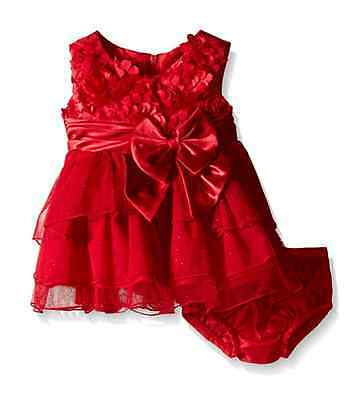 Bonnie Jean Baby Girls Bonaz Hi Low Christmas Santa Red Dress  12 18 24 Months