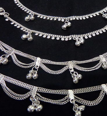 """Ethnic lot 4 silver bells chain anklet ankle bracelet belly dance Indian ATS 10"""""""