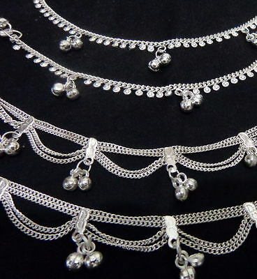 Ethnic lot 4 silver bells chain anklet ankle bracelet saree foot  Indian jewelry