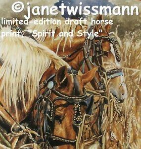 Fine-Art-PAINTING-PRINT-New-S-N-Belgian-Draft-Work-Farm-Horses-Autumn-Harvest
