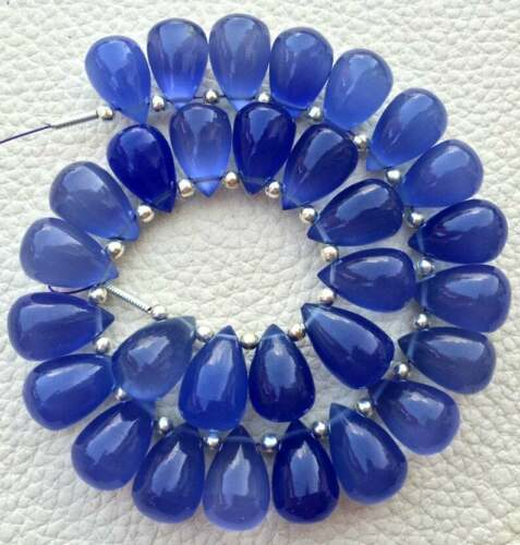 Lavender Blue Chalcedony Gemstone Beads Smooth Drops Briolettes 12x8 MM 5 Pairs