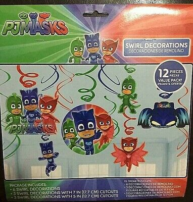 LOT (3) PJ Masks Swirl Hanging Decorations Kids Birthday Party Supplies Pajama  - Mint Party Supplies