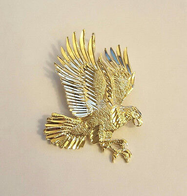 14K Real Solid Yellow Gold Diamond Cut Flying American Eagle Charm Pendant Diamond Cut Eagle Charm