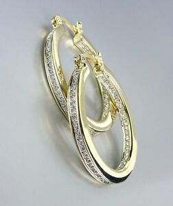 CLASSIC 18kt Gold Plated Inside Outside CZ Crystals OVAL Hoop Earrings