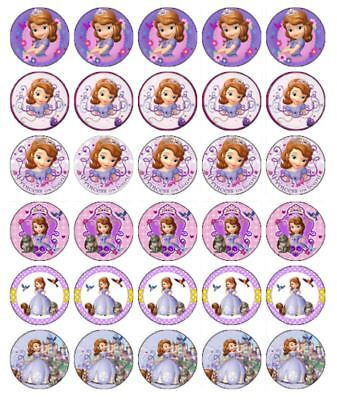 30 SOFIA THE FIRST Cupcake Edible Wafer Paper Birthday Cake Decoration Toppers - Sofia The First Cupcake Cake
