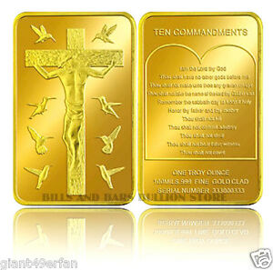 JESUS CHRIST .999 24k GOLD CLAD 1 OUNCE ART BAR TEN COMMANDMENTS CROSS