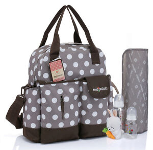 new baby diaper nappy bag backpack brown white dot womens mens mummy travel b. Black Bedroom Furniture Sets. Home Design Ideas