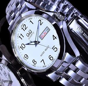 Q&Q by Citizen Uhr Damenuhr Armbanduhr Weiß Silber Farben Tag & Datumsanzeige