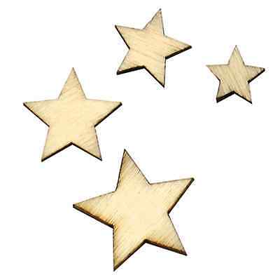 100pcs Rustic Wooden Mini Star Shape Wood Piece Wedding Table Scatter Decor US - Wooden Star