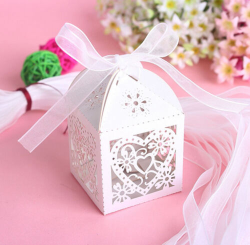 50PCS Love Heart Laser Cut Candy Gift ...