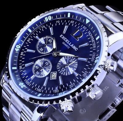 Excellanc Herren Armband Uhr Blau Datumsanzeige Datum Edelstahl SI 4 online kaufen