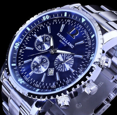 Excellanc Herren Armband Uhr Dunkel - Blau Datumsanzeige Datum Edelstahl SI 4