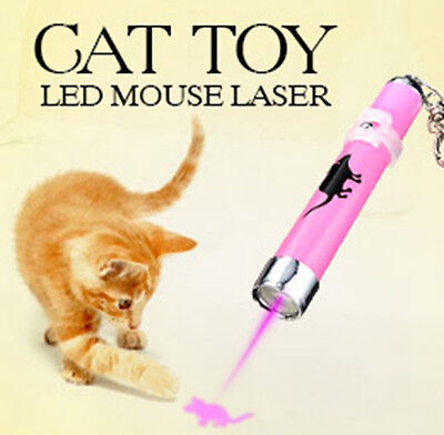 Interactive Led Light Training Cat Play Toy Laser Pointer Pen Mouse Animation