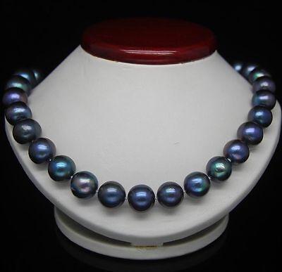 18''10-9 MM TAHITIAN BLACK BLUE PEARL NECKLACE 14K