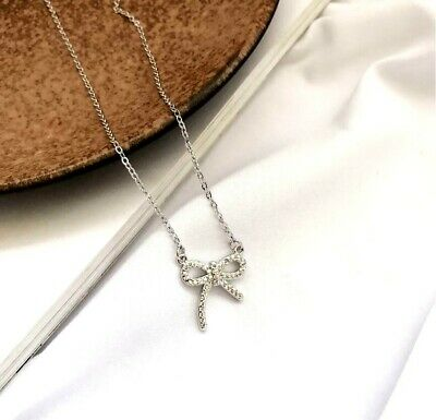 Bow Knot Pave Cubic Zirconia 925 Sterling Silver Pendant Chain Necklace