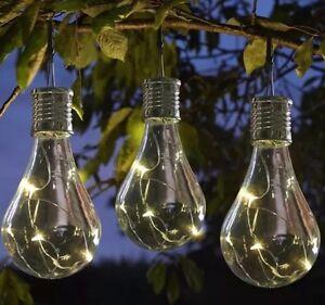 6 Solar MULTICOLOUR LED Powered Hanging Light Bulbs Garden Lights Clear Patio