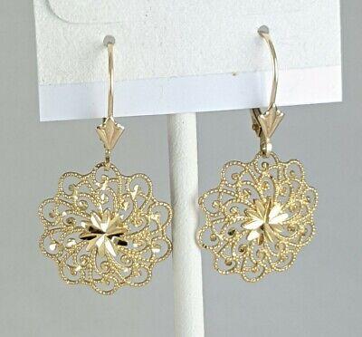 14K Yellow Gold Diamond-Cut Filigree Swirl Flower Dangle Earrings 1.93gm