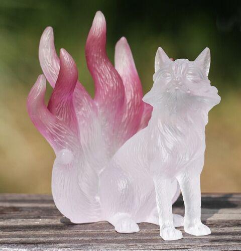 Chinese Liu Li Crystal Nine Tailed Fox Fairy Statue Love Marrage Feng Shui Decor