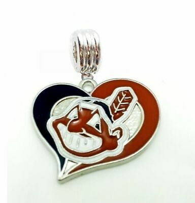 CLEVELAND INDIANS BASEBALL HEART CHARM SLIDE PENDANT NECKLACE EUROPEAN BRACELET
