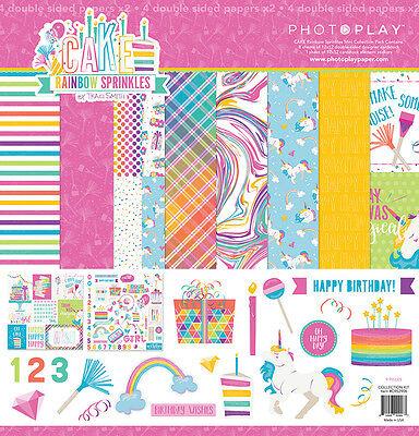 - Scrapbooking Crafts 12X12 Paper Kit Cake Rainbow Sprinkles Unicorns Birthday