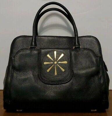 ISAAC MIZRAHI New York Large Black Leather Satchel/Handbag/Purse/Tote