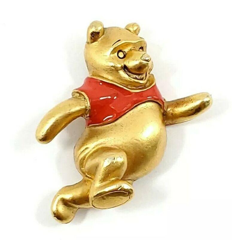 Vintage Disney Winnie The Pooh Running Metal Pin Gold Tone RARE