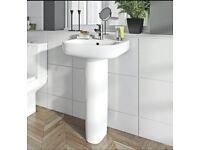 Full pedestal sink basin completely new