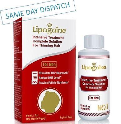 LIPOGAINE FOR MEN INTENSIVE TREATMENT HAIR LOSS REGROWTH ANTI DHT SCALP SOLUTION