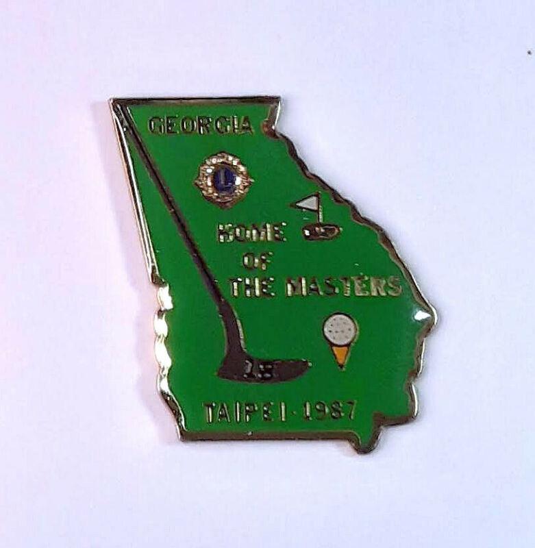 "Lions Club - Georgia 1987 Taipei - ""Home of the Masters""  Golf club/tee/flag"