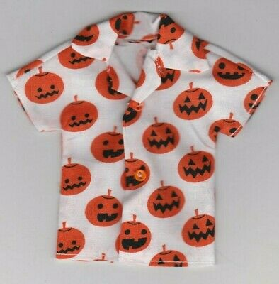 Homemade Doll Clothes-HALLOWEEN White W/Jack O' Lanterns Shirt fits Ken Doll H1 - Homemade Halloween
