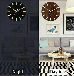 Wooden Wall Clock Glow In The Dark Silent Quartz Indoor Living Room Luminous