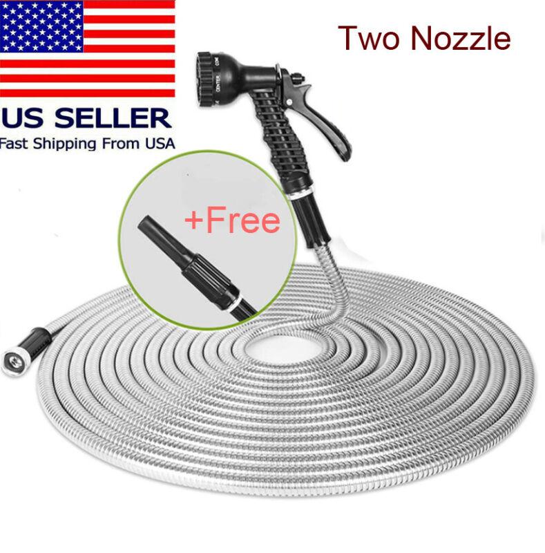 Stainless Steel Metal Garden Hose Water 50/75/100FT Flexible Lightweight Outdoor