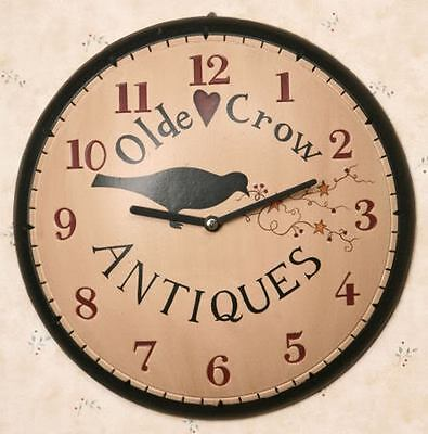 Primitive Olde Crow Antiques Round Wall Clock 11 1/2 Diameter Battery