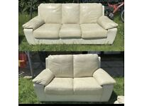 Cream leather 3&2 seater sofas can be delivered
