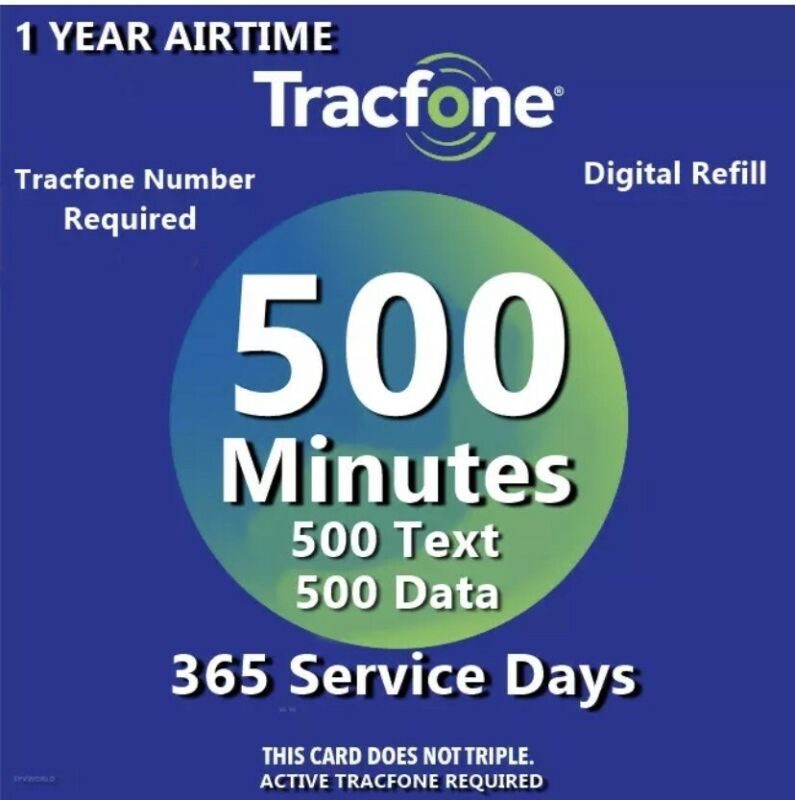 TracFone 1 Year Service Plan - 365 Days + 500 Minutes/ 500 Text/ 500 Data