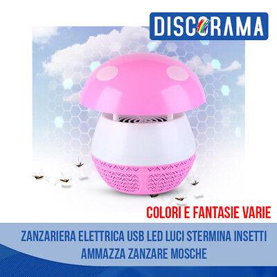 Zanzariera Elettrica USB LED Luci Stermina Insetti Ammazza Zanzare Mosche