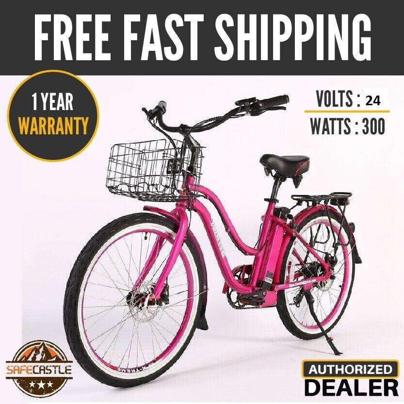 X-treme Malibu Elite Step Beach Cruiser Electric Bicycle,24v