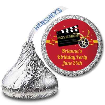 Movie Night -Personalized Hershey Kiss Birthday Party Sticker Labels - 108 label