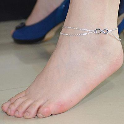 USA Women Forever Love Infinity Double Chain Barefoot Foot Silver Anklet Chain