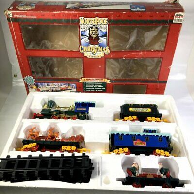 Vintage 1996 North Pole Christmas Express Toy Train Set Plastic Battery Operated