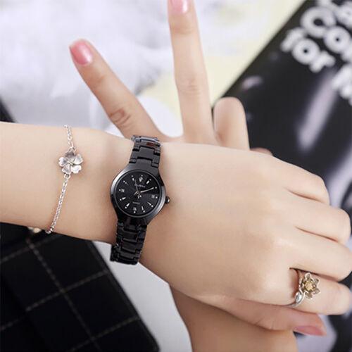 Schwarz Damen Uhr Armbanduhr Edelstahl Analog Quarz Automatik Uhr DE