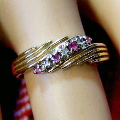 9 ct GOLD second hand diamond & ruby ring