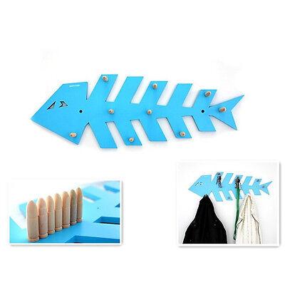 DIY Garderobe Fischgräten MDF Holz Fisch blau Kleider Haken 21x60cm Flur Kinder (Kleiderhaken Fisch)