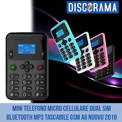 MINI TELEFONO MICRO CELLULARE DUAL SIM BLUETOOTH MP3 TASCABILE GSM A6 NUOVO 2019